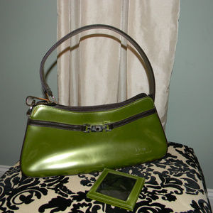 BEIJO GREEN LEATHER HANDBAG & SMALL WALLET